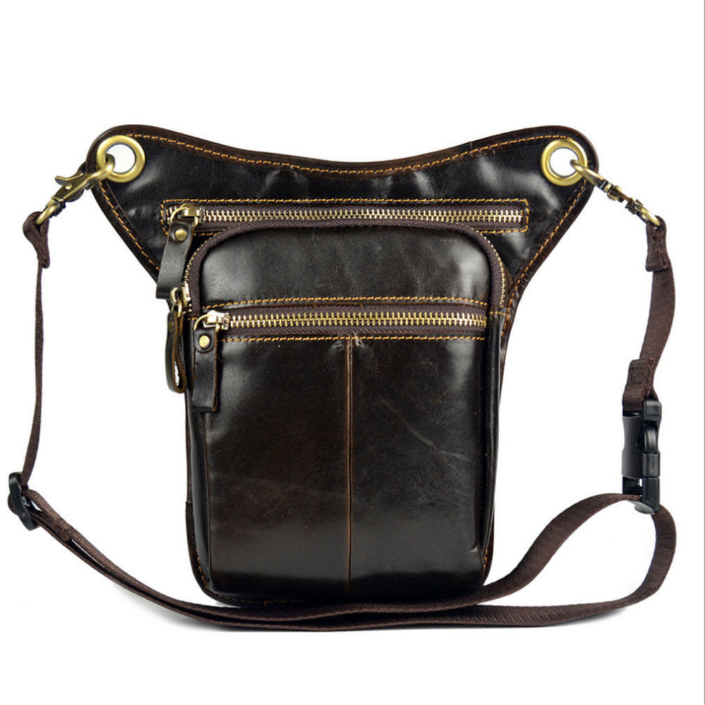 New Men Vintage Oil Wax Geunine Leather Cowhide Travel Motorcycle Riding Crossbody Messenger Fanny Pack Waist Thigh Drop Leg Bag