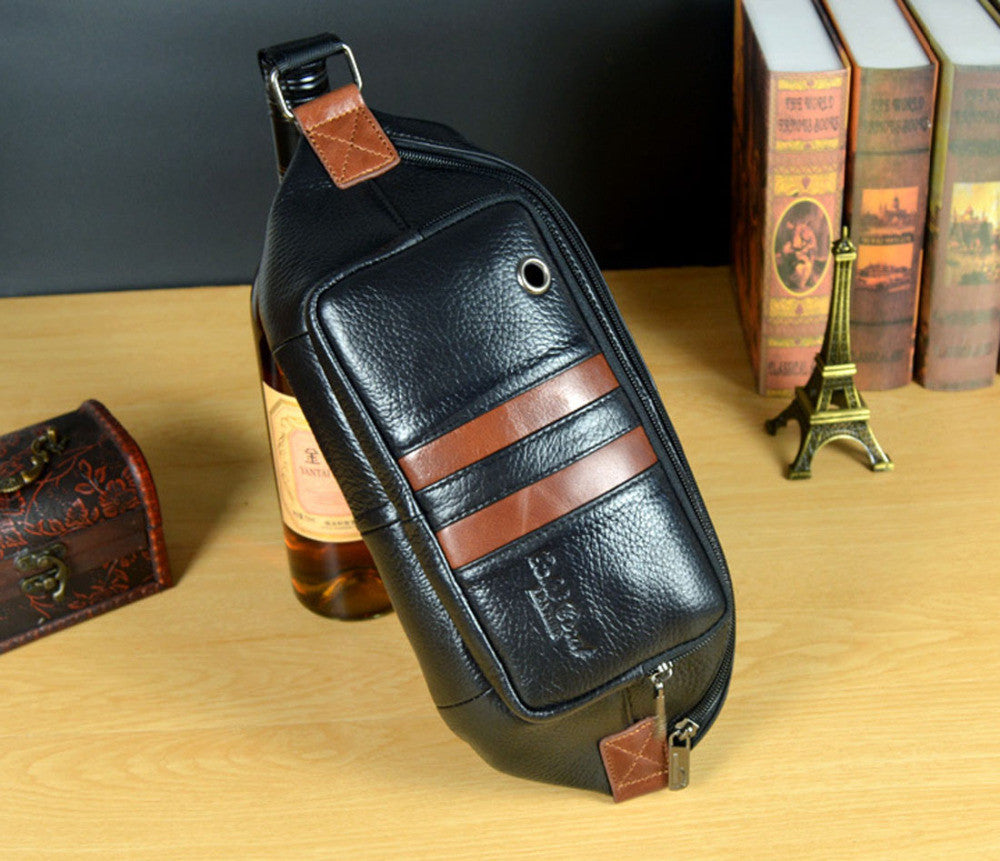 New Fashion Men Genuine Leather Travel Messenger Shoulder Sling Chest Hip Belt Bum Pouch Fanny Pack Waist Bag Purse