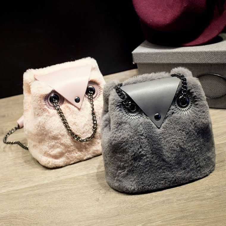 Brand Winter Soft Faux Fur Women Messenger Bags Small Owl Chain Shoulder Bags Designer Rabbit Ladies Bucket Crossbody Bag