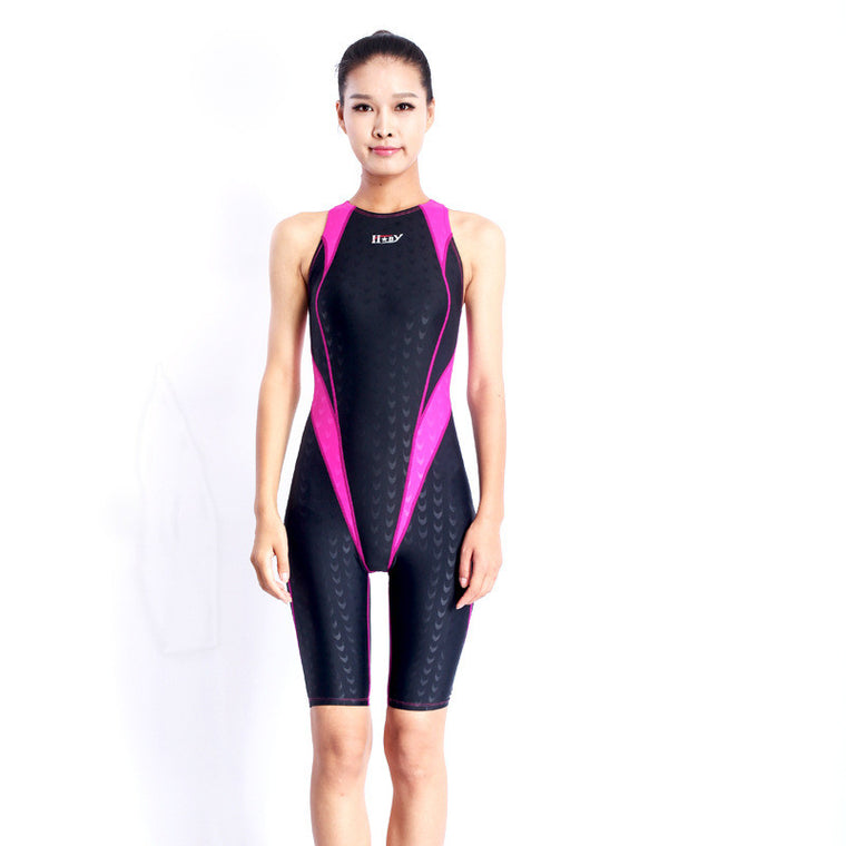 Women Sharkskin Professional Competition Swimsuit Female One Piece Bathing Suits Training Swimwear Racing Knee Swimsuits
