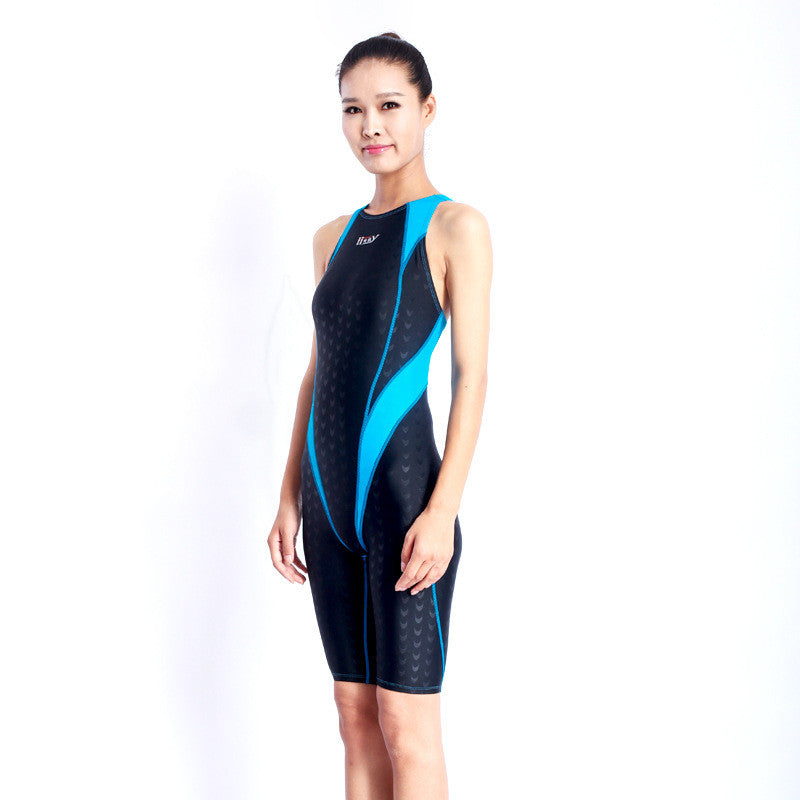 7a7749af4bc8c ... Women Sharkskin Professional Competition Swimsuit Female One Piece Bathing  Suits Training Swimwear Racing Knee Swimsuits ...