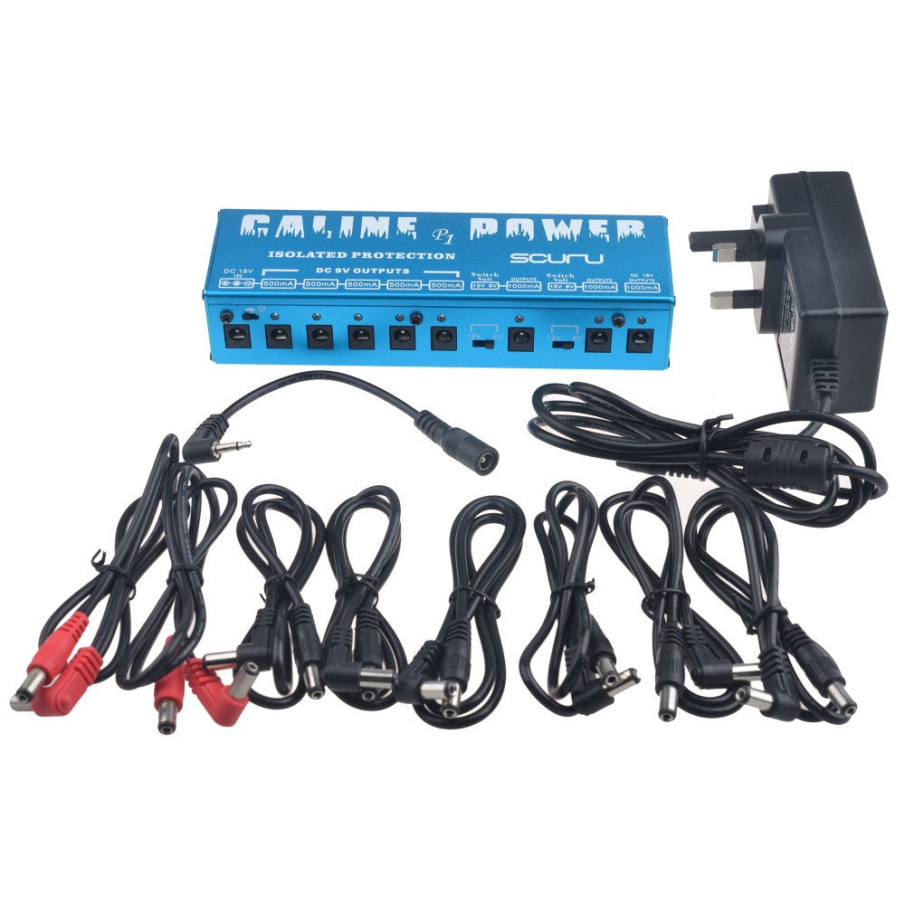 Caline P1 Isolated Power Supply 18V 2A 36W Guitar Effects Pedal 8 lsolated Outlets Power Supply P1 Blue Color
