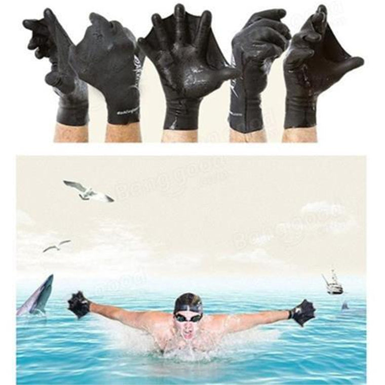 Swimming Diving Training Hand Flippers Swim Finger Frog Webbed Gloves Paddle