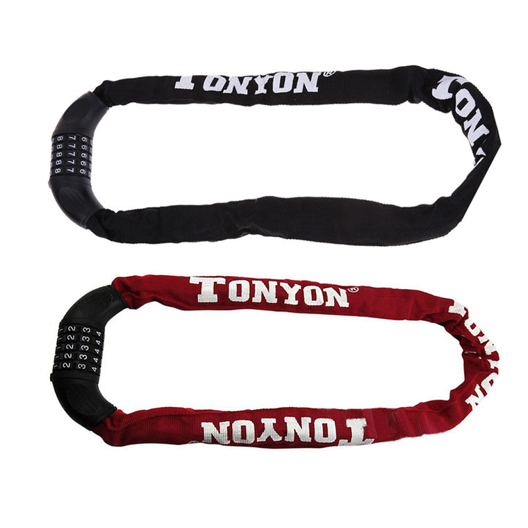 Bicycle Motorcycle Anti-Theft Lock 5 Digit Combination Password Chain Locks Red Black Bike Bicycle Security Chain Lock