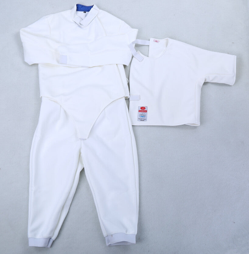 fencing equipments, fencing jackets, fencing pants, fencing underplastron, CE 350N