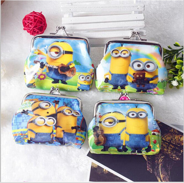 1 Piece Coin Purses Minion Square Hasp PVC Coin Purse Girls Minions Wallet Children Despicable Me 2 Party Supplies