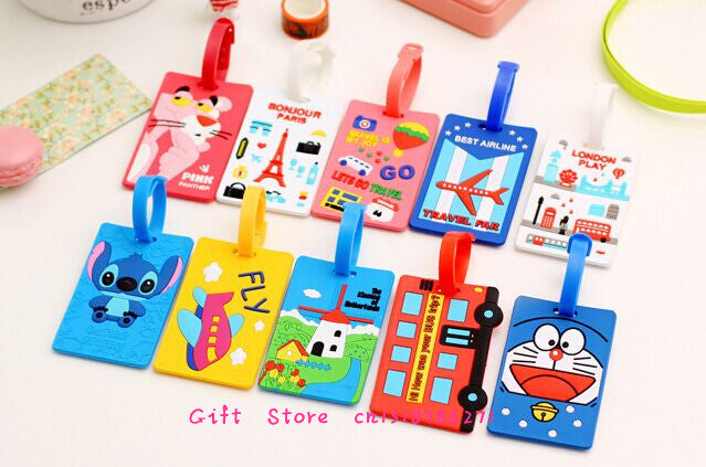 UP 10Models Cartoon , 16CM Silicone Travel Luggage Tag Case TAG ; Label Name Cards TAG Holder Pouch