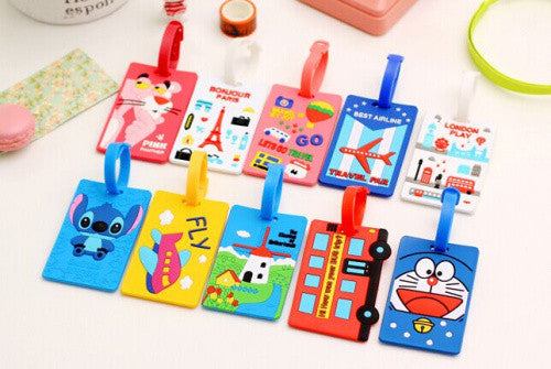Multi Cartoon Models Random 16*6CM Silicone Travel Luggage Tag Case TAG ; Luggage Label Name Cards TAG Pouch