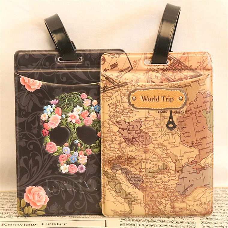 World Map Rose Skull Travel Luggage Label Novelty Suitcase Name ID Address Square Luggage Tag Travel Accessories