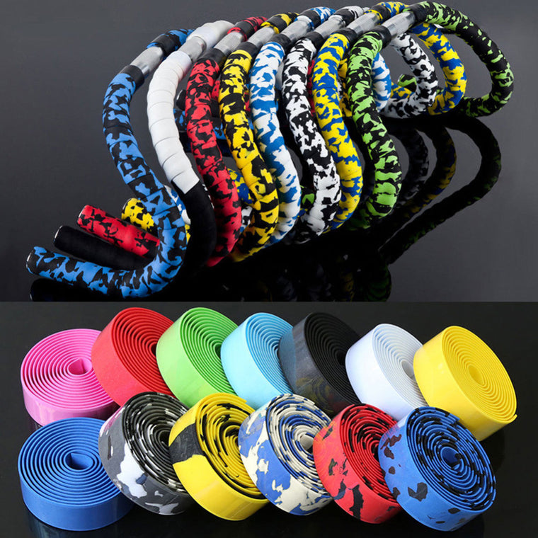 Cycling Road Bike Bicycle Sports Cork Handlebar Tape+ 2 Bar Plug 8Colors Bike Bicycle Flexible Rubber Spone Handle Bar Wholesale