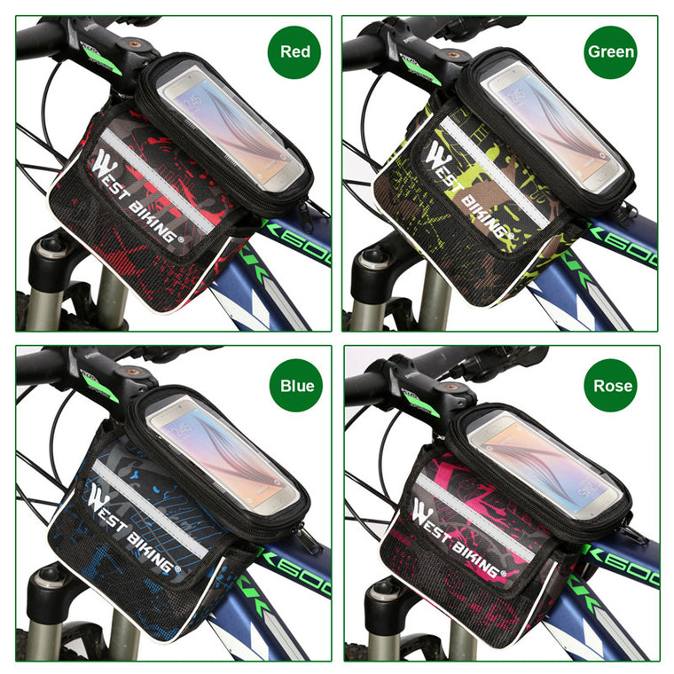 WEST BIKING 5.5 Inch Bicycle Frame Bag Cycling Pannier Smartphone Phone Touch Screen Cycling Front Tube Bike Bag with Rain Cover