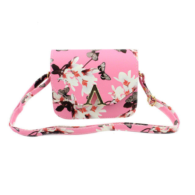 Floral Print Women Shoulder Crossbody Bags Vintage Women Messenger Bags V Letters Design Ladies Clutch Purse Flap Bag