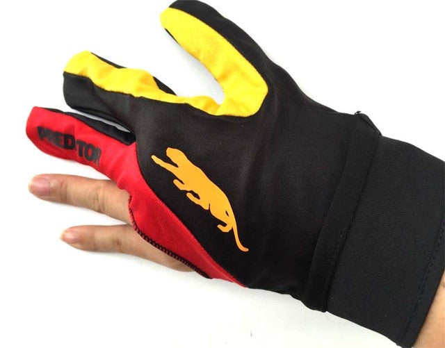 Cue Billiard Pool Shooters 3 Fingers Gloves RED and YELLOW billiard gloves snooker gloves high quality billiard accessories