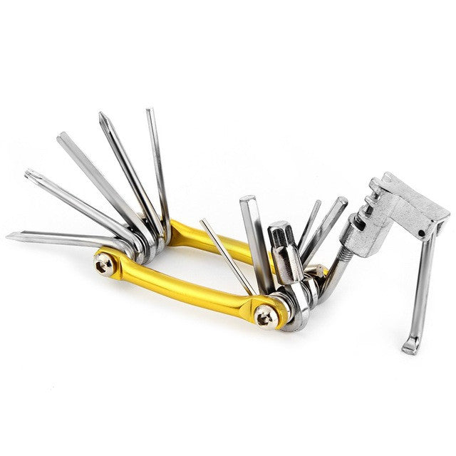 11 in 1 MTB Bicycle Repair Tool Set Carbon Steel Chain Cutting Tool + Hex Key + Wrench + Screwdrivers Repairing Bike Accessories