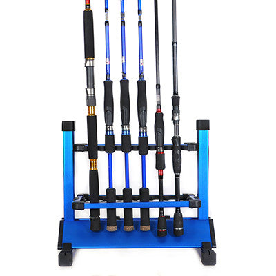 Aluminum Fishing Rod Rack Blue Silver 12Pcs Fishing Rods Holder Pesca Fishing Tackle Carp Fishing Rods Holder New