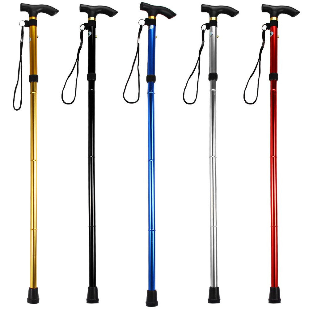 New 5 Colors Aluminum Metal Folding Walking Stick with Adjustable Height and Non-slip Rubber Base For Mountaineering Hiking