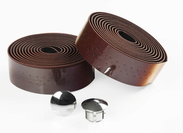 2  rolls of New Retro bicycle Road Bike Sports Cork Handlebar Tape+ 2 Bar plug (Retro Brown)  there are holes FZE003
