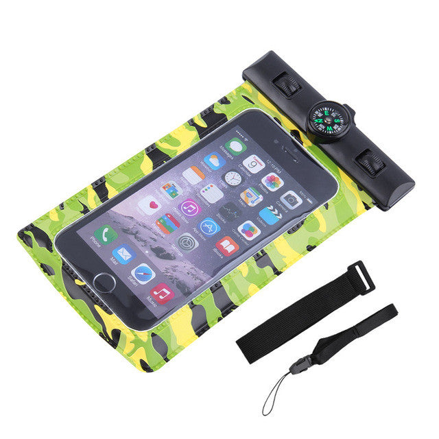 4.5-5.2inch Waterproof Underwater Holder Dry Bag for phone with Compass 3 colors new arrival