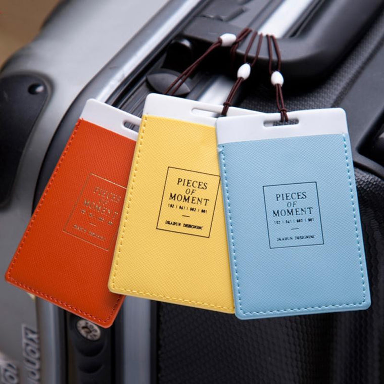 "PU Leather ""pieces of moment\"" Letters Print Travel Baggage Luggage Tag Suitcase Bag Tag Travel Accessories"