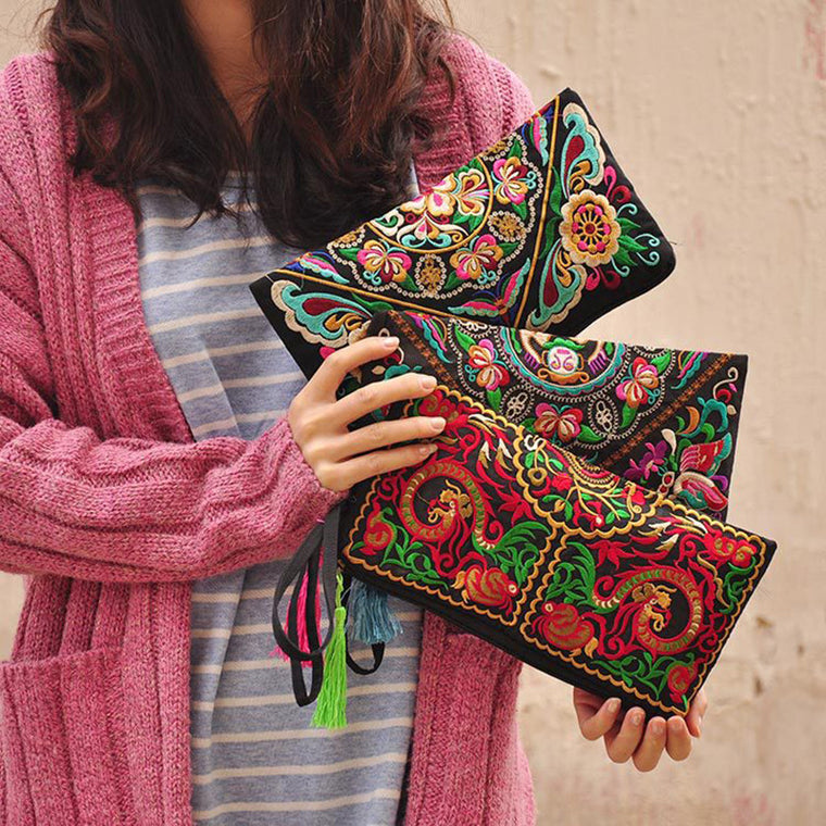 Women Bag Handbags Summer Cotton Clutch Embroidered Purse Phone Coin Tassel Small Floral Female Bolsa Casual Wallet Vintage Sale