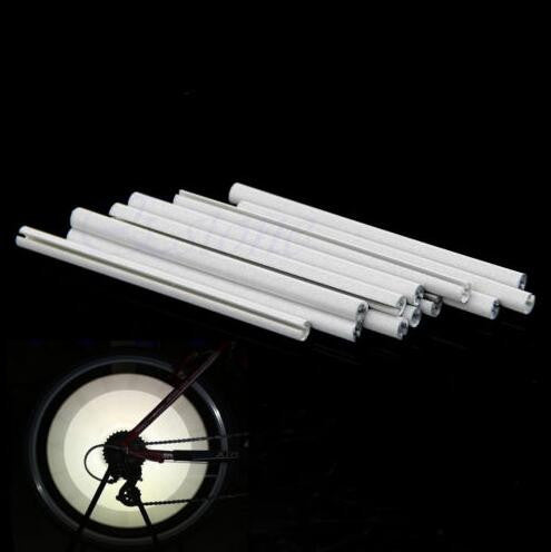12Pcs Bicycle Mountain Bike Riding Wheel Rim Spoke Mount Clip Tube Warning Light Strip Reflector Reflective Outdoor White 75mm
