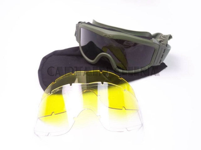 Airsoft Goggles Tactical  Wargame Outdoor Sport Tactical Hiking Glasses Goggles 3 Lens bk/tan/green