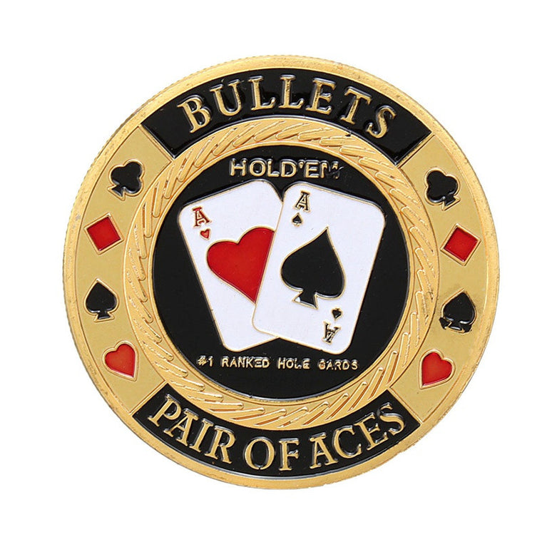 Metal Poker Chip Guard Card Protector Coin Pair Of Aces Gold Plated With Round Plastic Case Metal Craft Poker Chips Poker Game