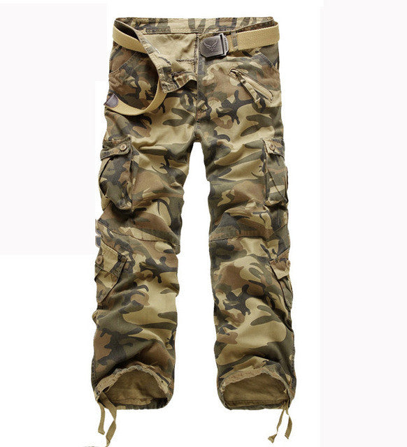 men's pants camping hiking Camouflage Cargo Pants Plus Size Multi-pocket Overalls Trousers
