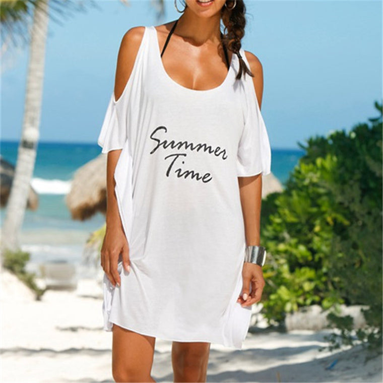 New Arrivals Beach Cover up Letter Print Swimwear Ladies Beach Dress Bikini Cover up Swimwear Robe de Plage Saida de Praia #Q142