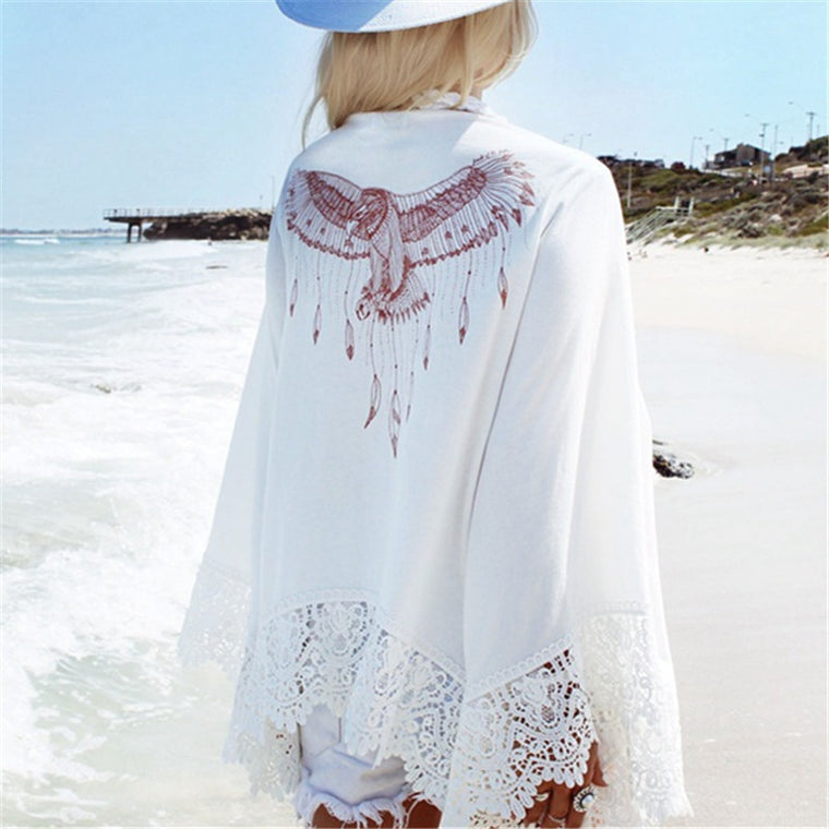 New Arrivals Beach Cover up Print Lace Swimwear Ladies White Sarong Beach Cape Pareos for Women Robe de Plage Beachwear #Q19