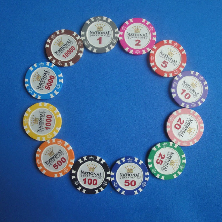 20PCS/Lot Crown National Poker Chips Texas Hold'em Poker Chips Clay+Iron Poker Club 10000 Value Casino Chip Game Chips