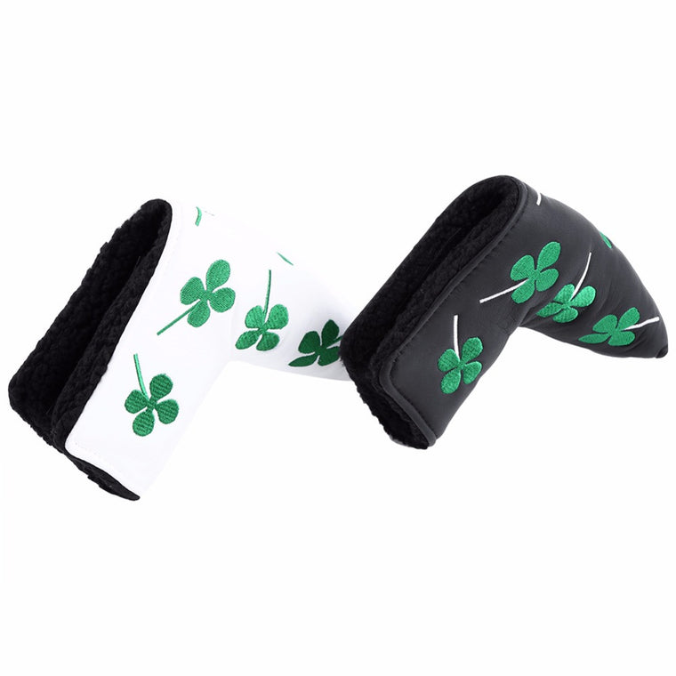 PU Golf Putter Cover Green Four Leaf Clover Golf Club Head Cover Accessory