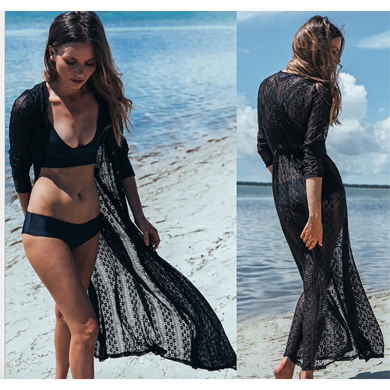 High Quality Lace Beach cover up long Beach dress Womens tunic Beach dress Saida de Praia  Pareo Swimwear Cover up Beach dress