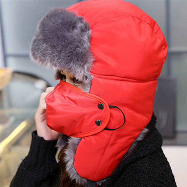 Men Women Unisex Autumn and winter Outdoor Windproof Winter hiking Caps Thermal Lei Feng Hiking Russian Caps With Masks Bomber