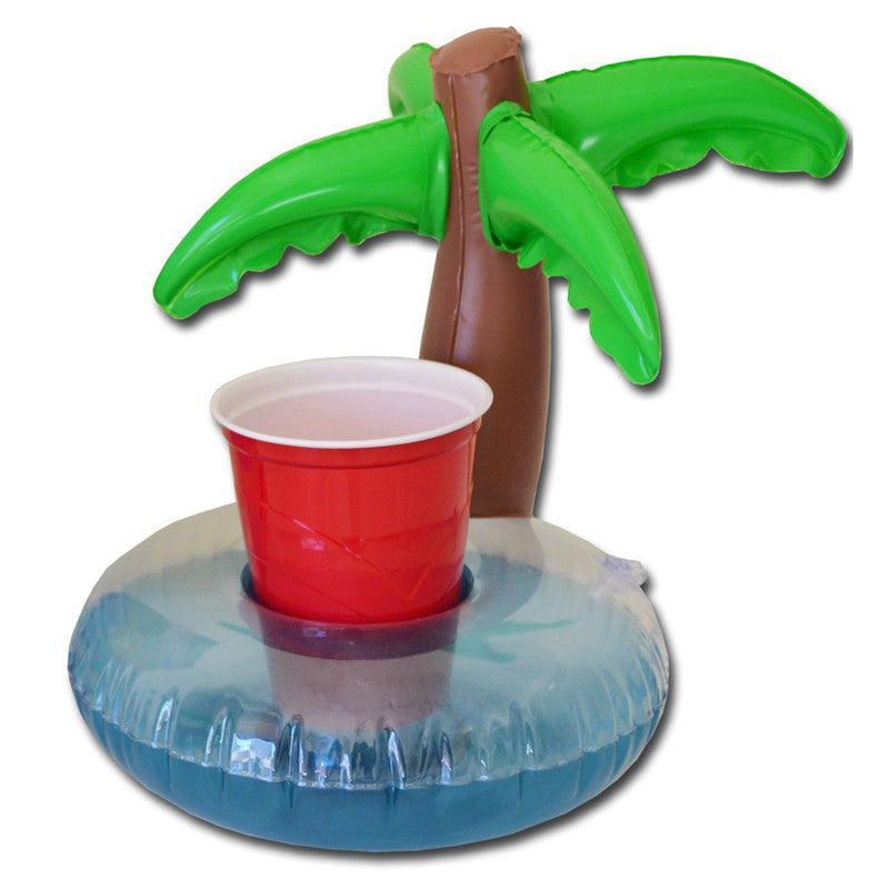 6pcs Mini Inflatable Palm Island Drink Cup Can Floating Holder Pool Floats Summer Swimming Party Ring Adults Kids Fun Water Toys