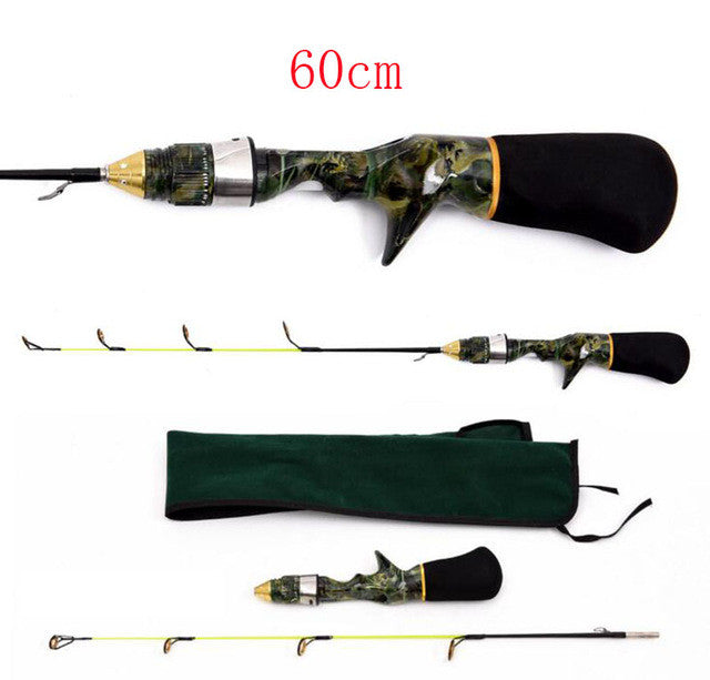 Mini Camouflage Portable winter ice fishing rod 50cm 60cm short rod pocket rod
