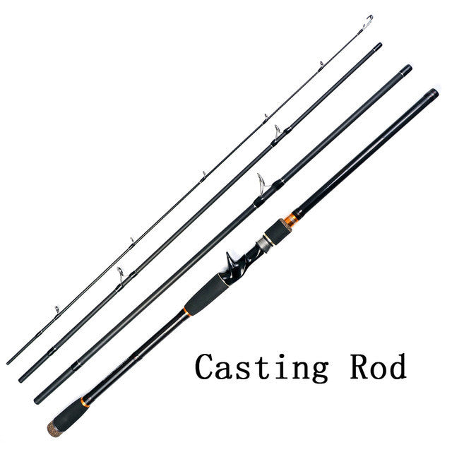 JOHNCOO NEWEST 2.1m 2.4m 2.7m Casting Rod High Carbon Fishing Rod 4 Sections Spinning Fishing Rod  Travel Rod Fishing Tackle