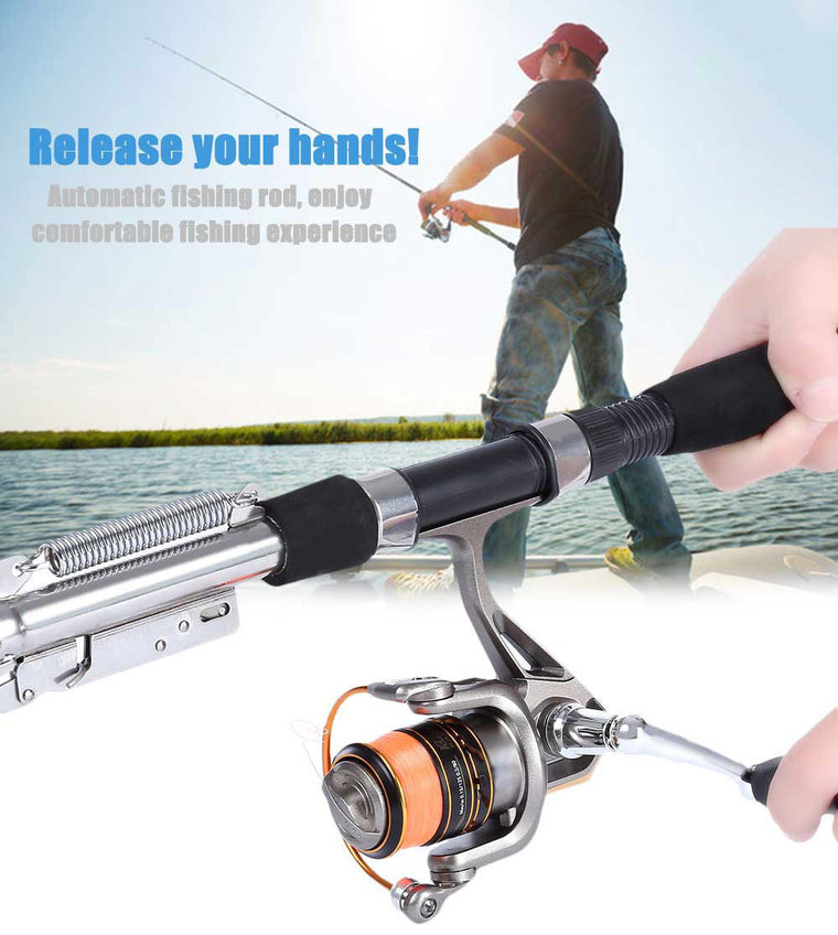 1.8m 2.1m Automatic Fishing Rod Sea River Lake Stainless Steel Automatic Fishing Rod Fish Pole Hard with Storage Bag for Fishing