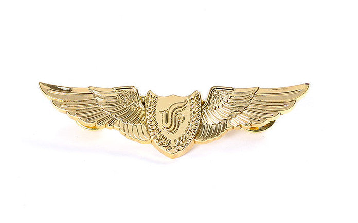 Pilot Golden Badge Wing Pin Flying Medal for Flight Crew , Gift as Collection Souvenir