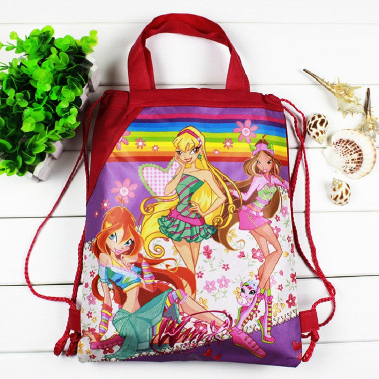 1 teil / los Winx Children Cartoon drawstring  bags for girls, children birthday party Favor, Mochila school children 20