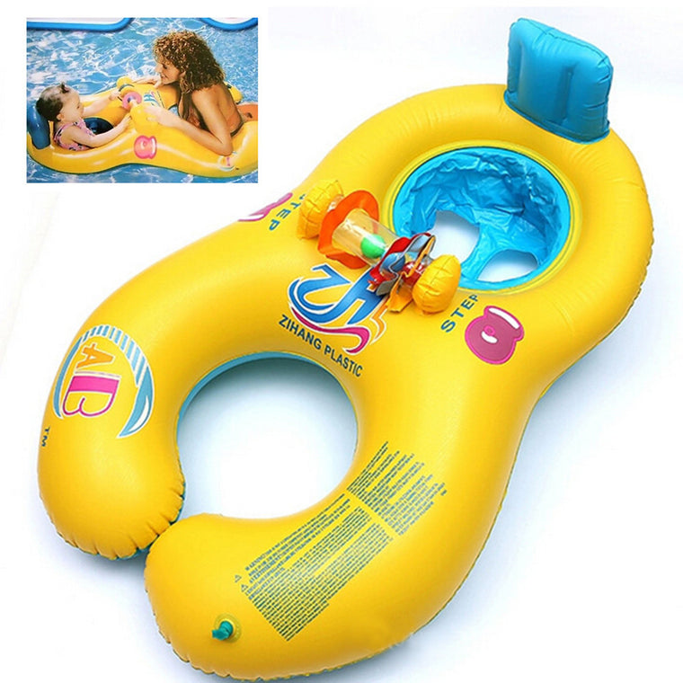 Safe Soft Inflatable Mother & Baby Float Swim Ring Kids Seat Double Person Swimming Pool 4 Colors