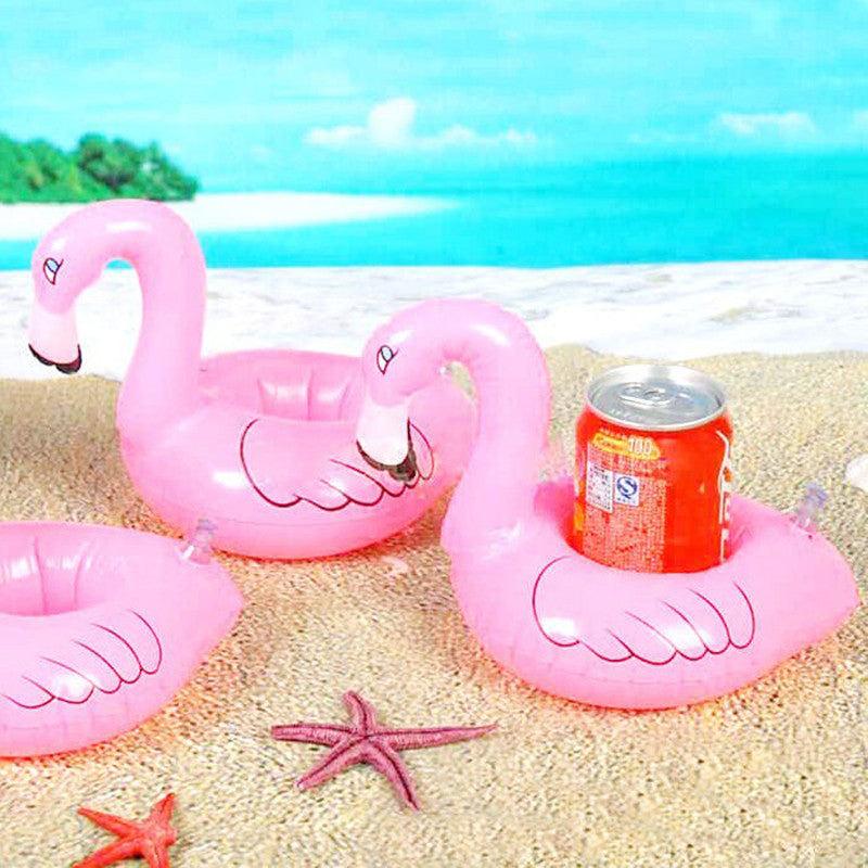 Hot Sale Mini Baby Inflatable Flamingo Drink Cup Can Holder Pool Floats Summer Swimming Party Ring Adults Kids Fun Water Toys