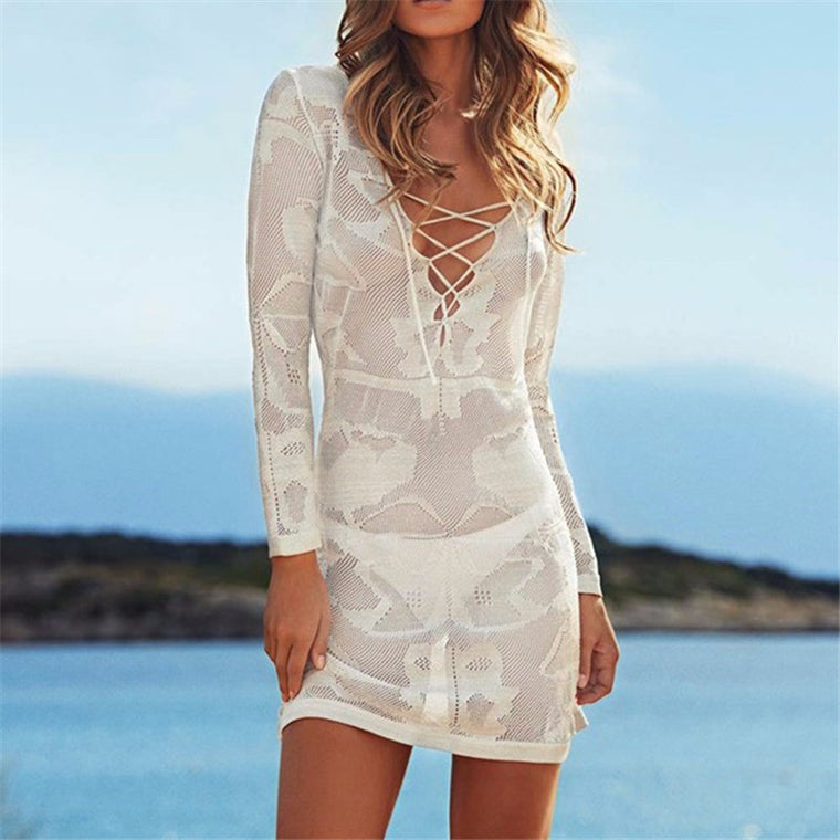 New Arrivals Sexy Beach Cover up Crochet White Swimwear Dress Ladies Bathing Suit Cover ups Beach Tunic Saida de Praia #Q38