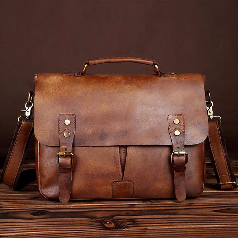 Men Oil Wax Cowhide Briefcase Vintage Male Tote Computer Bags Handbag Business Genuine Natural Leather Shoulder Messenger Bag