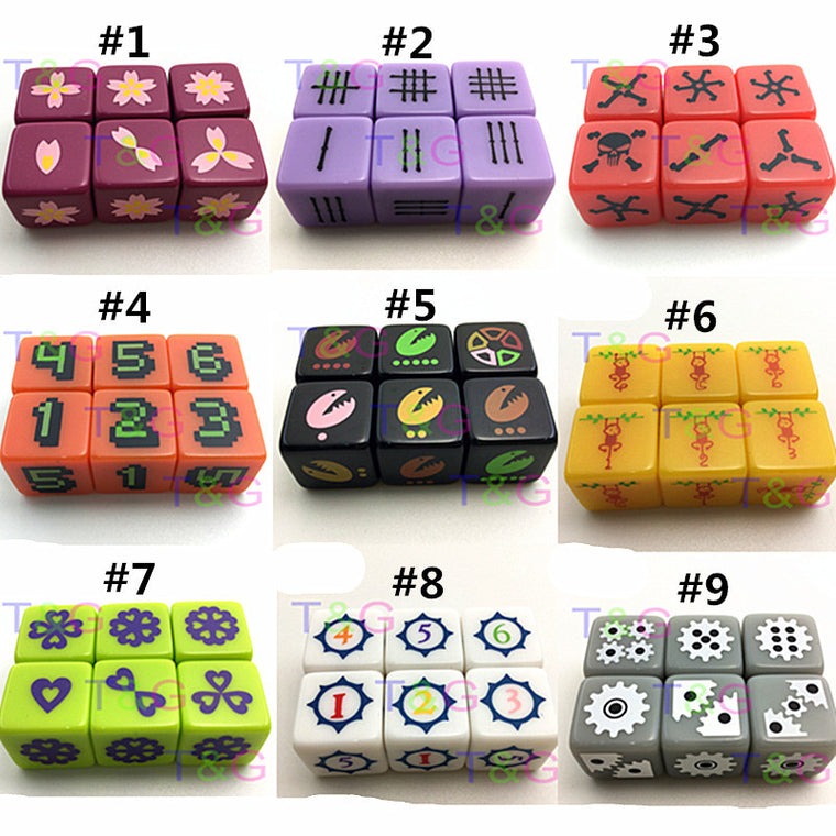 6 Pcs/set 16mm Board Game Digital Dice Orange with Pixel Digital 1-6 Funny Party Drink Decider d6 Dice Family Games Fun Toy