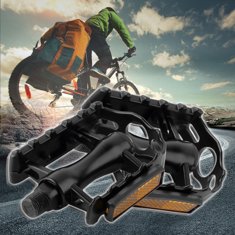 One Pair Mountain Road Bicycle Pedals Flat Aluminum Alloy Pedals Platform with Gearwheel Bike Cycling Accessories