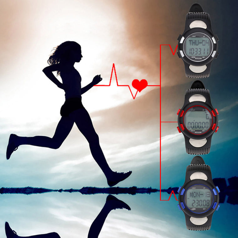 Pedometer Heart Rate Monitor Digital Sports Watches Calories Fitness Men Women Military EL Backlight Outdoor 3ATM Waterproof