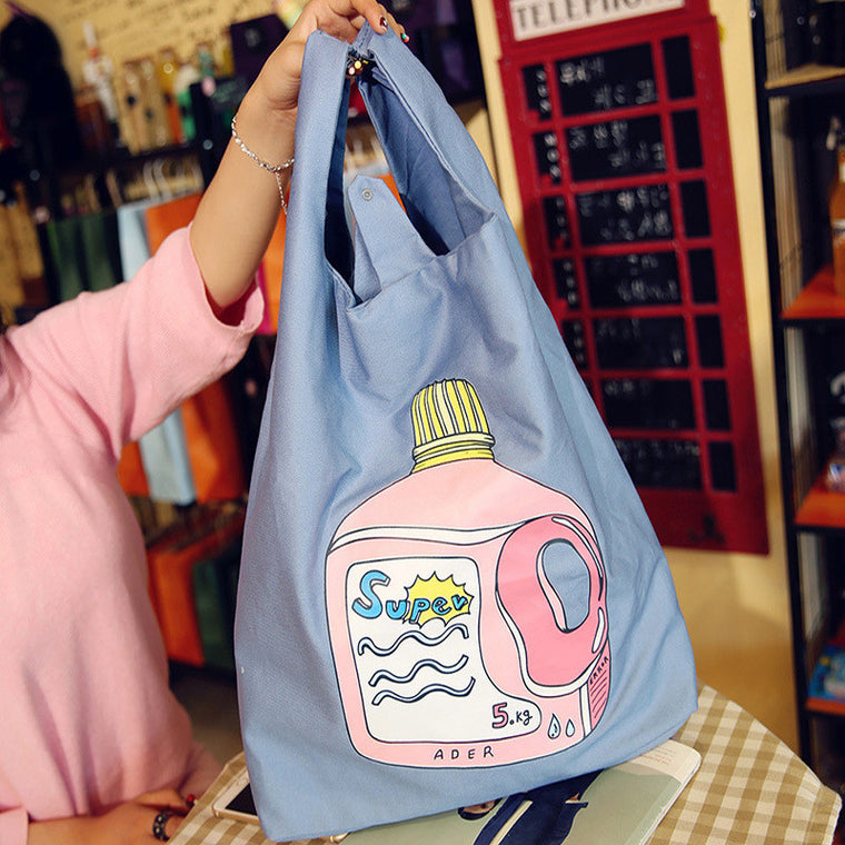 Female Fresh Beach Bag Cartoon Butter Letter Printed Casual Tote Women Canvas Handbag Daily Use Single Shoulder Shopping Bags
