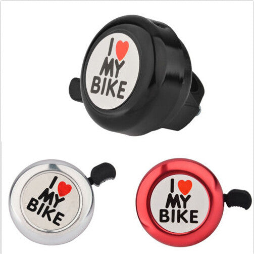 I Love My Bike Printed Clear Sound Cute Bike Alarm Warning Ring Bell for Children White Red Black Bicycle Accessories