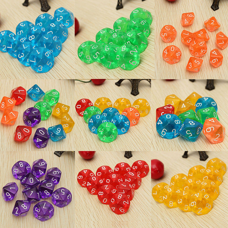 New 10pcs/set Multicolor Transparent 10 Dice Die 10 Sided Gem Dice D10 RPG Dungeons   Dragons Playing Games